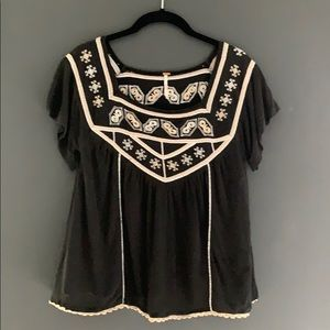 Free People top with embroidery and crochet trim